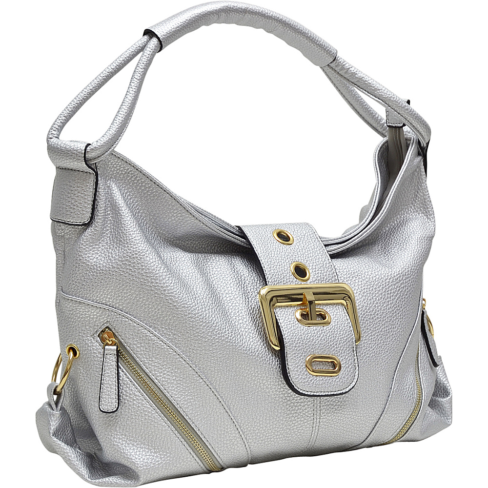 Dasein Classic Hobo with Zippered Pockets Silver - Dasein Manmade Handbags - Handbags, Manmade Handbags