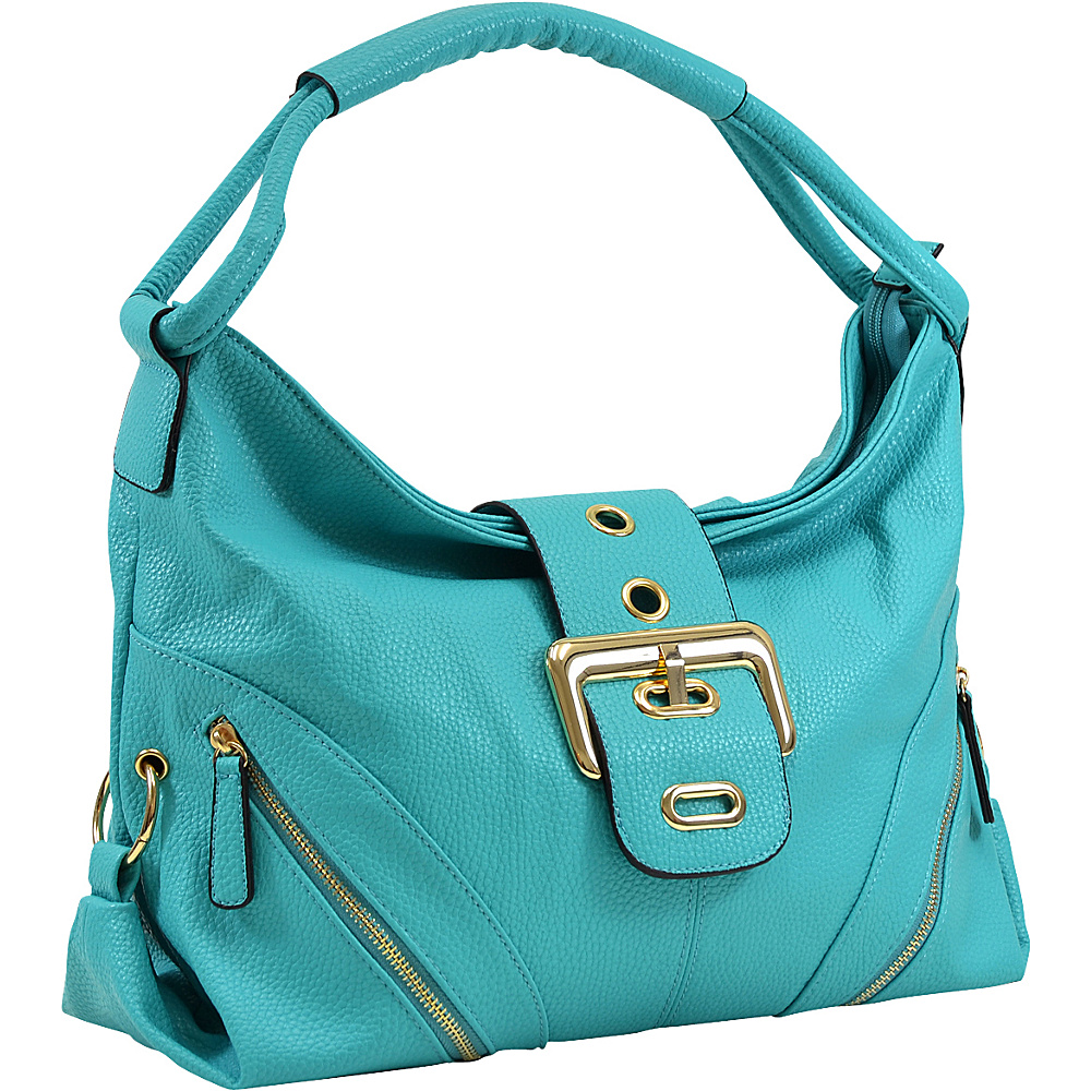 Dasein Classic Hobo with Zippered Pockets Turquoise - Dasein Manmade Handbags - Handbags, Manmade Handbags
