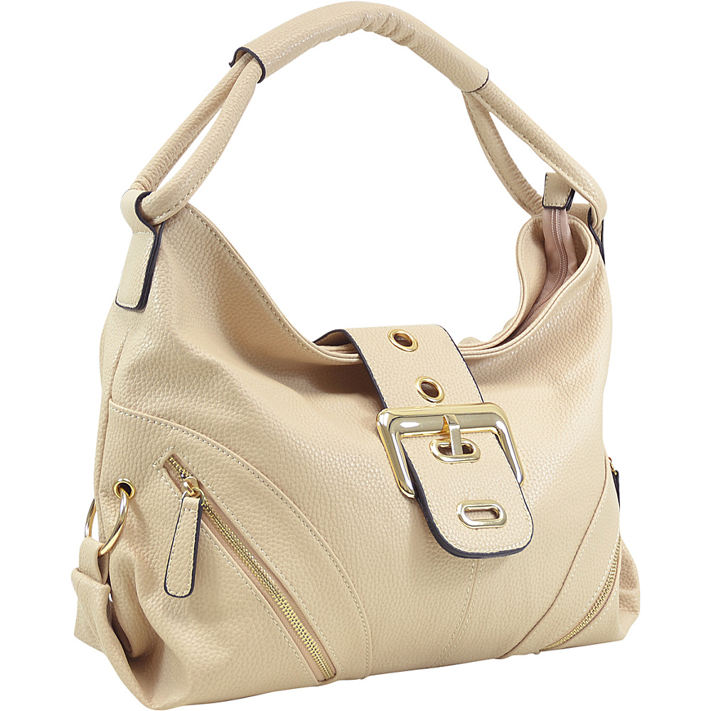 Dasein Classic Hobo with Zippered Pockets Beige - Dasein Manmade Handbags - Handbags, Manmade Handbags