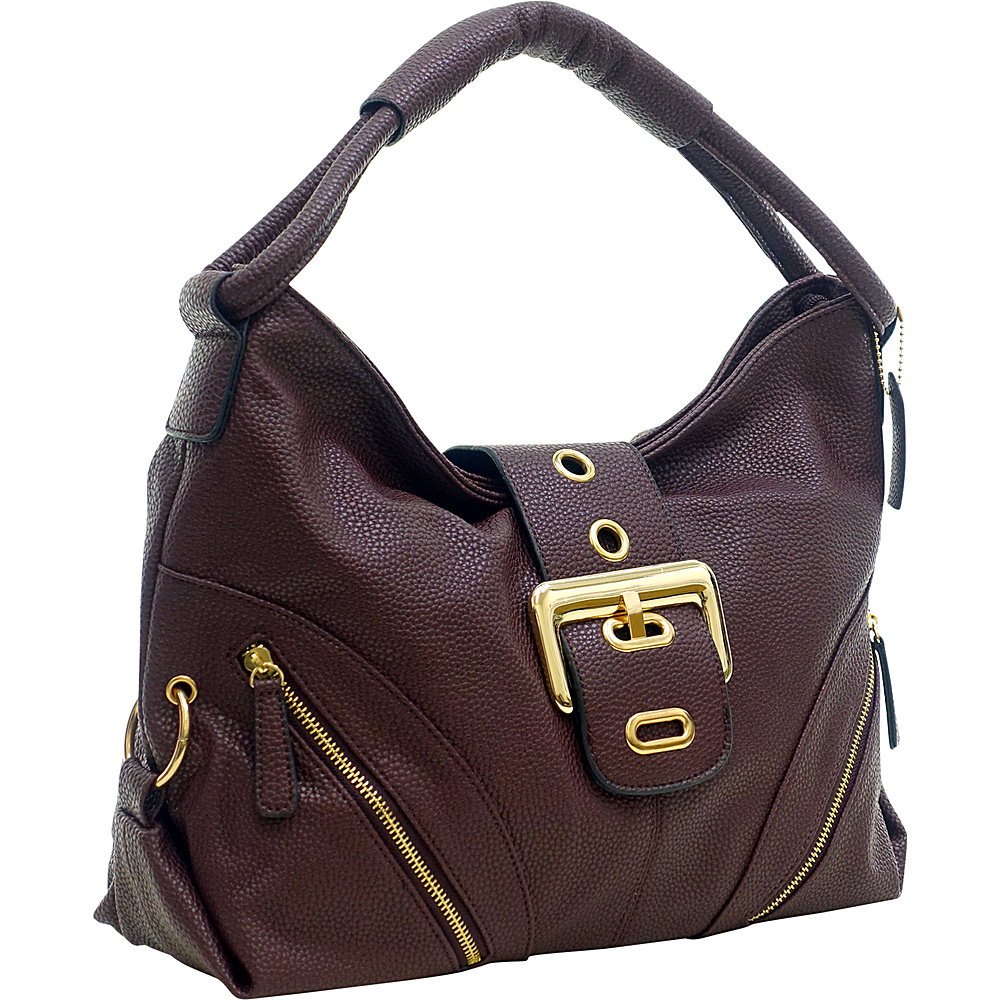 Dasein Classic Hobo with Zippered Pockets Coffee - Dasein Manmade Handbags - Handbags, Manmade Handbags