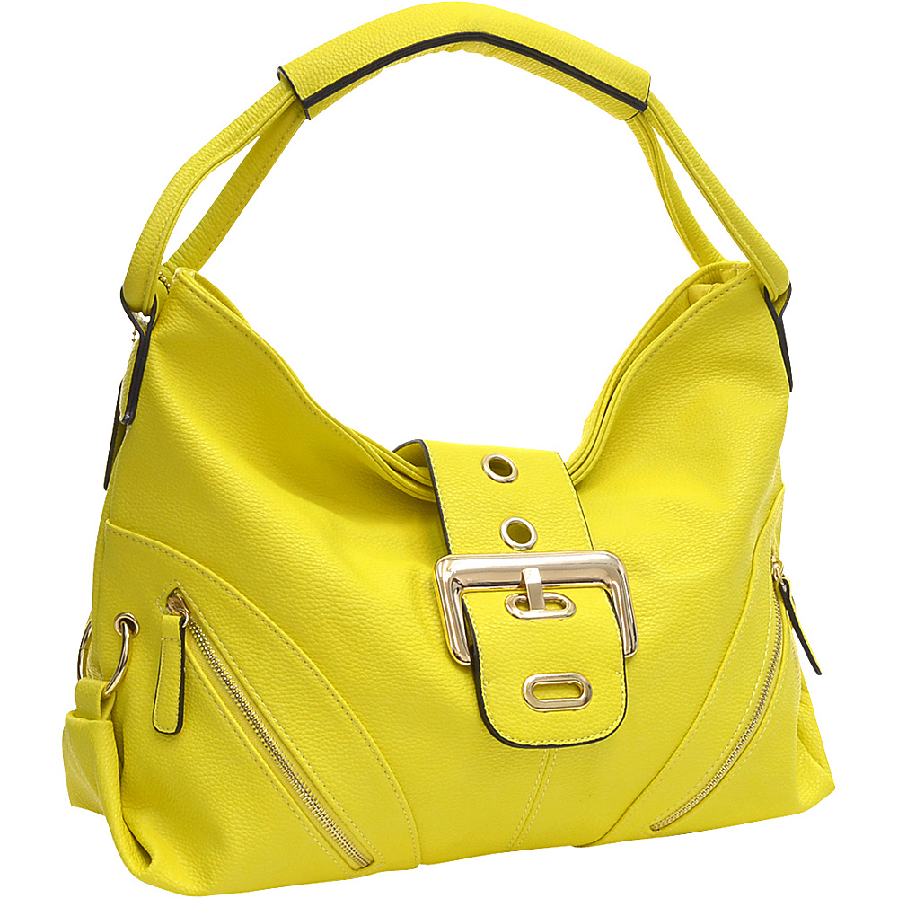 Dasein Classic Hobo with Zippered Pockets Yellow - Dasein Manmade Handbags - Handbags, Manmade Handbags