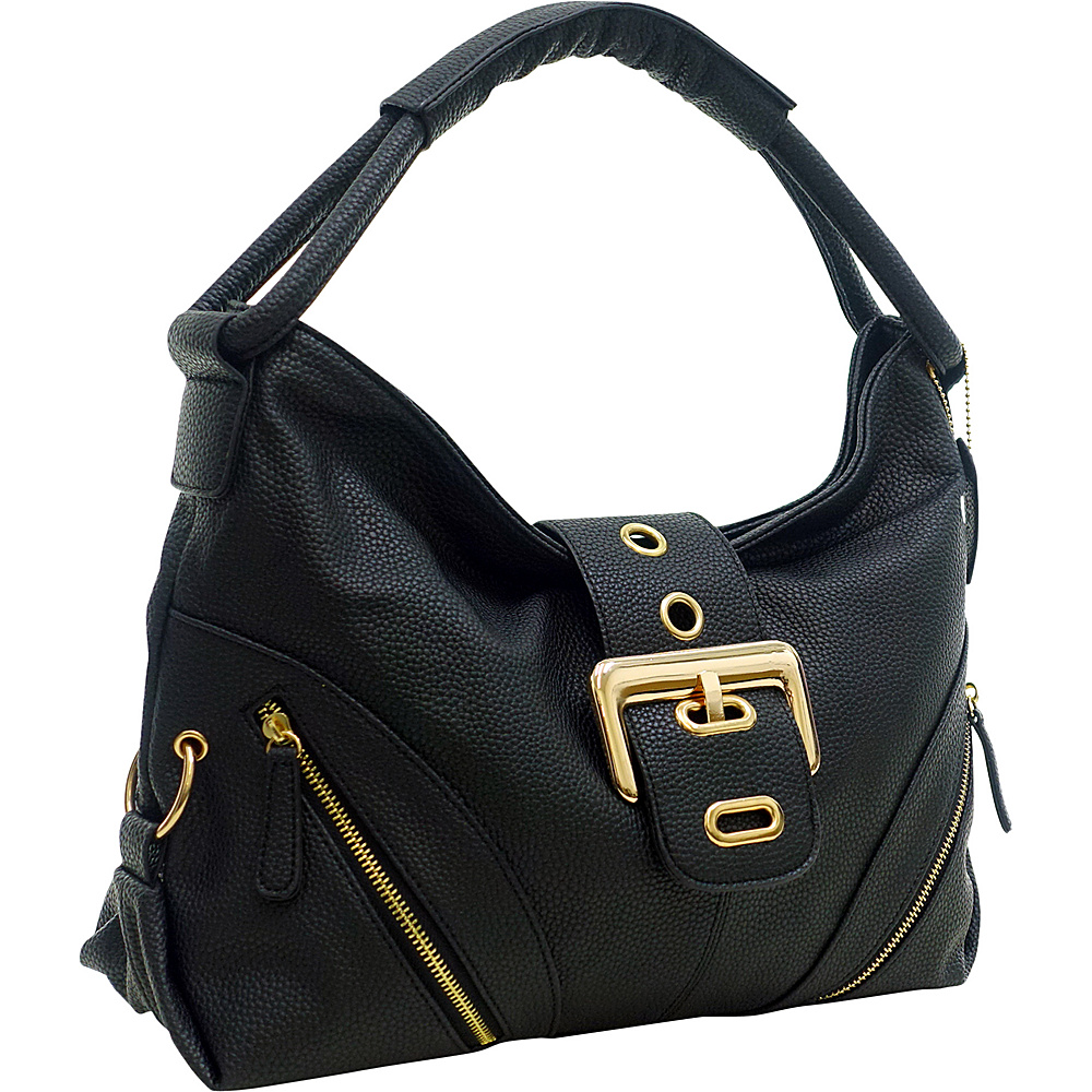 Dasein Classic Hobo with Zippered Pockets Black - Dasein Manmade Handbags - Handbags, Manmade Handbags