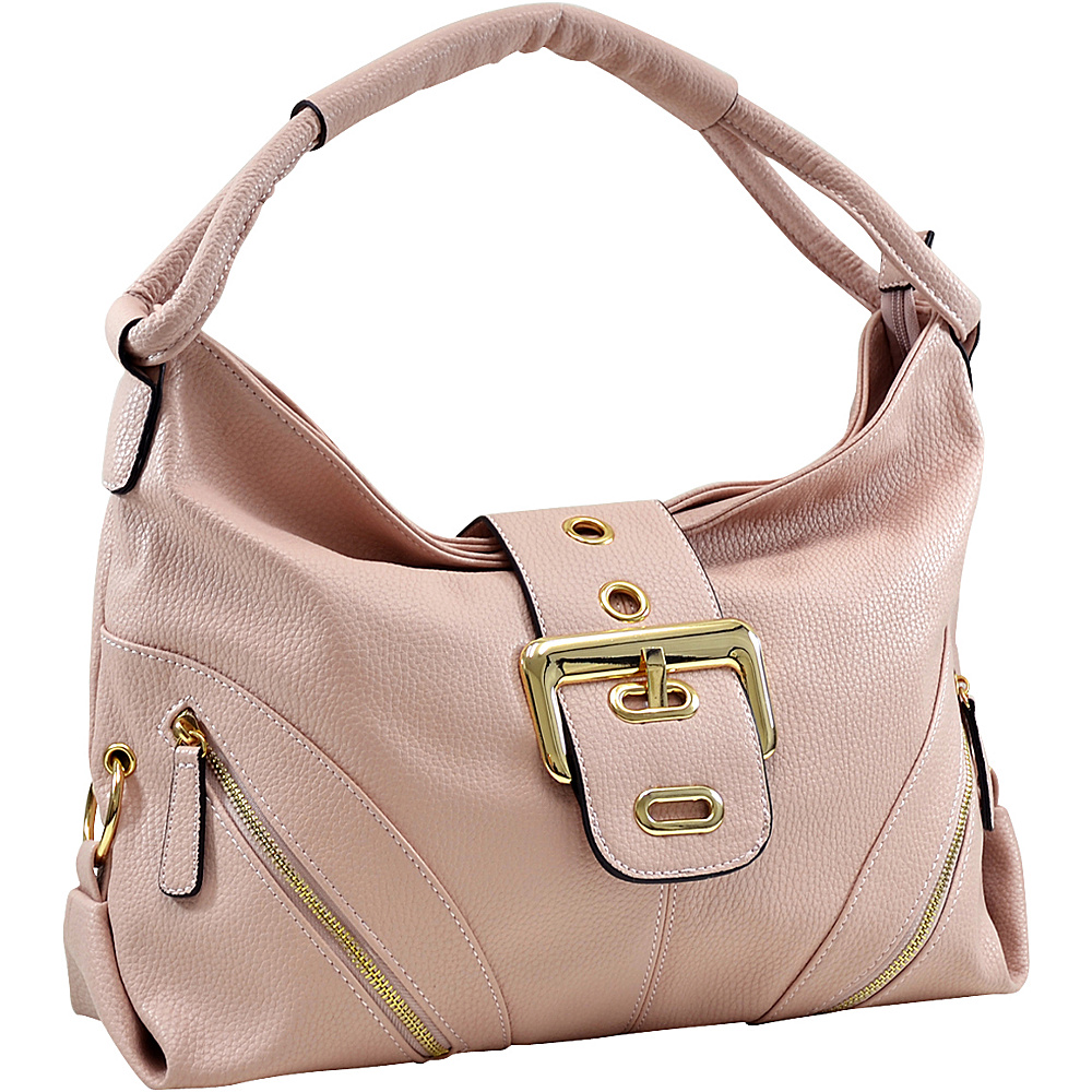 Dasein Classic Hobo with Zippered Pockets Pink - Dasein Manmade Handbags - Handbags, Manmade Handbags