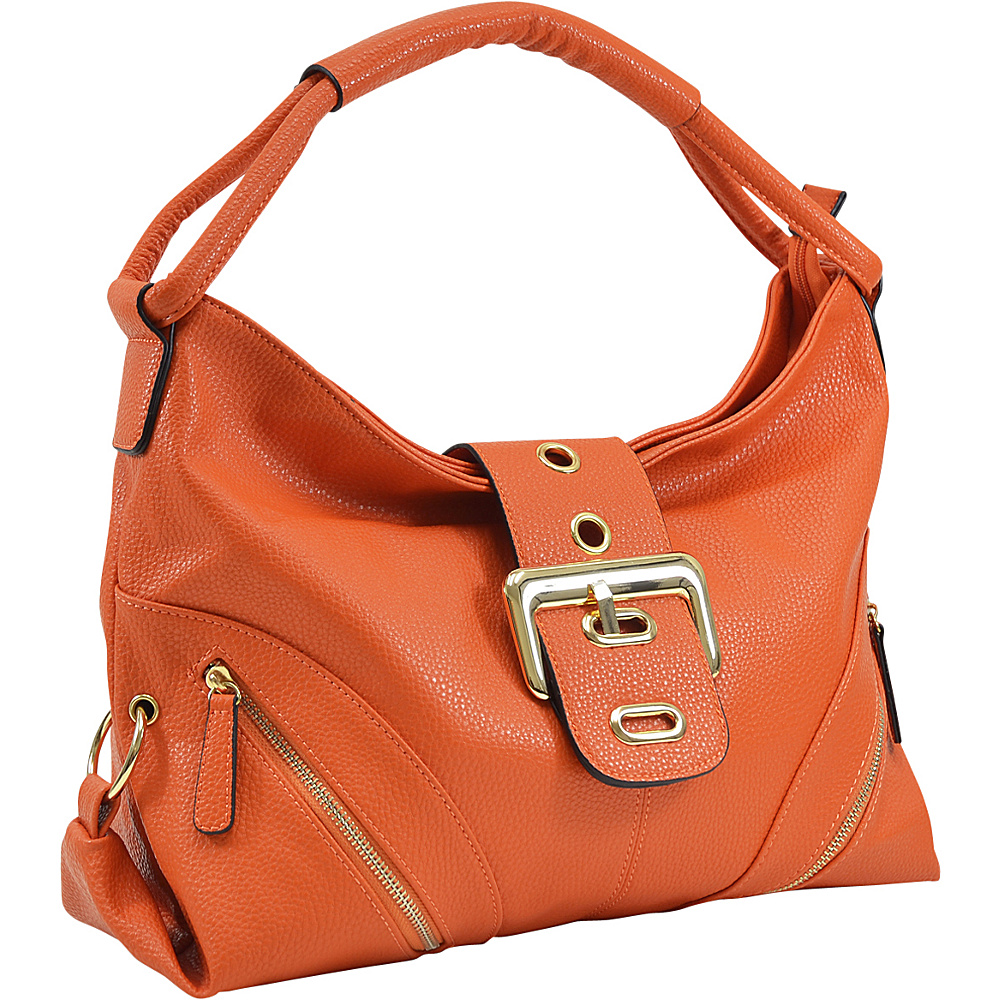 Dasein Classic Hobo with Zippered Pockets Orange - Dasein Manmade Handbags - Handbags, Manmade Handbags