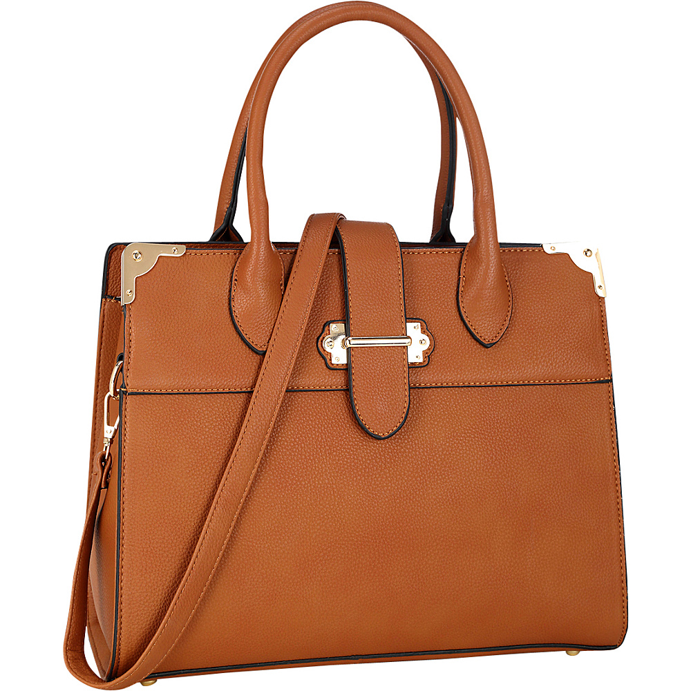Dasein Faux Leather Medium Satchel Brown - Dasein Manmade Handbags - Handbags, Manmade Handbags