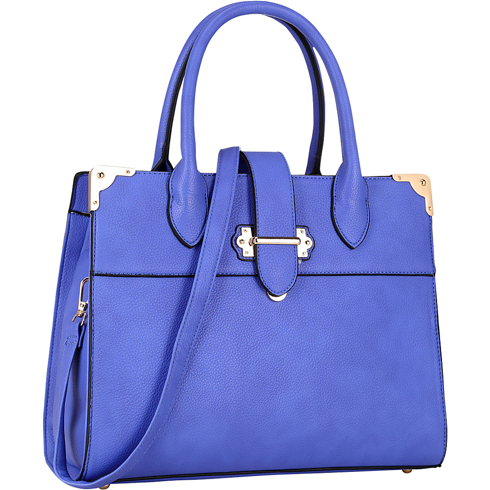 Dasein Faux Leather Medium Satchel Royal Blue - Dasein Manmade Handbags - Handbags, Manmade Handbags