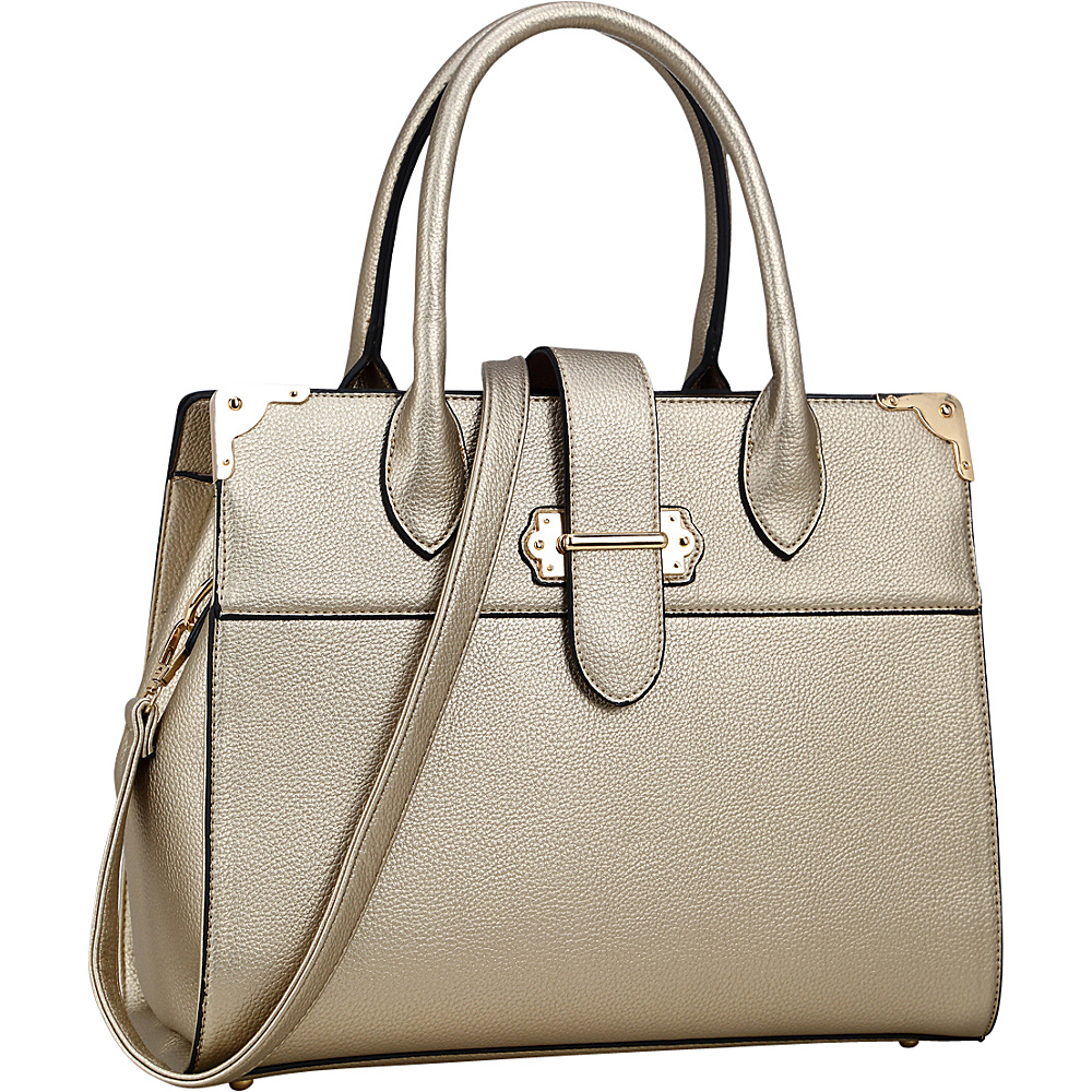 Dasein Faux Leather Medium Satchel Gold - Dasein Manmade Handbags - Handbags, Manmade Handbags