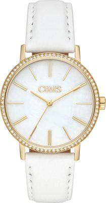 Chaps Whitney Gold-Tone and White Leather Three-Hand Watch White - Chaps Watches