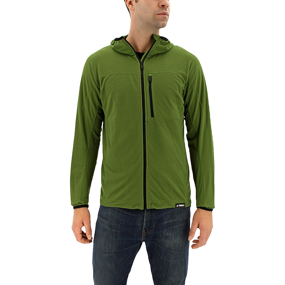 adidas outdoor Mens Tracerocker Fleece Hoodie S - Craft Green - adidas outdoor Mens Apparel - Apparel & Footwear, Men's Apparel