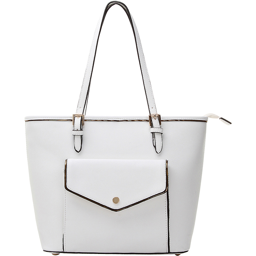 MKF Collection by Mia K. Farrow Envelope Shoulder Tote White - MKF Collection by Mia K. Farrow Manmade Handbags - Handbags, Manmade Handbags