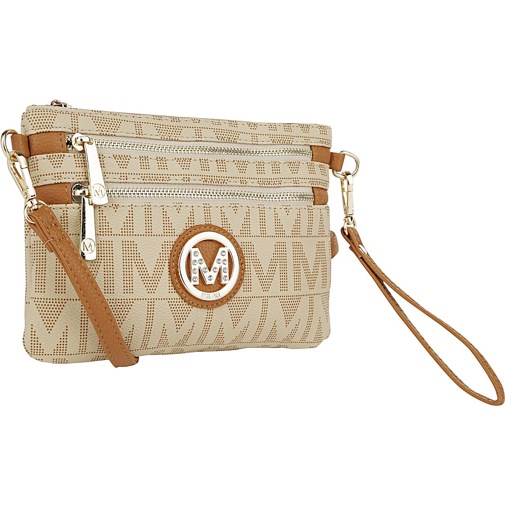 MKF Collection Monaco M Signature Crossbody and Wristlet Beige - MKF Collection Manmade Handbags - Handbags, Manmade Handbags