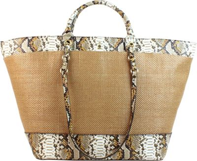 London Fog Handbags Poole Seasonal Shopper Amber Snake - London Fog Handbags Fabric Handbags