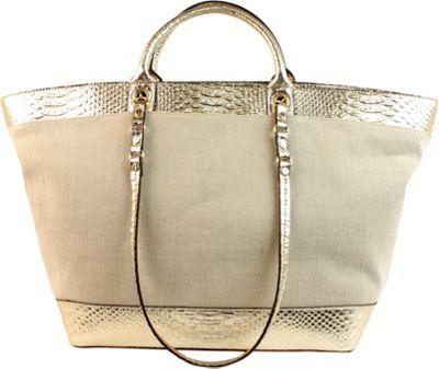 London Fog Handbags Poole Seasonal Shopper Gold Snake - London Fog Handbags Fabric Handbags