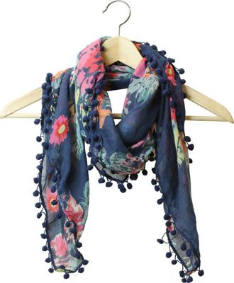 FITS Floral Square Light Scarf Navy - FITS Scarves