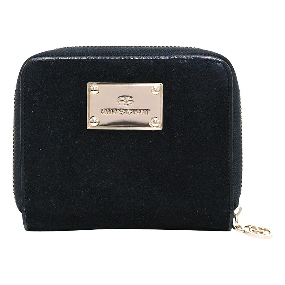 Dasein Zip-Around Wallet with Gold Logo Emblem Black - Dasein Womens Wallets - Women's SLG, Women's Wallets