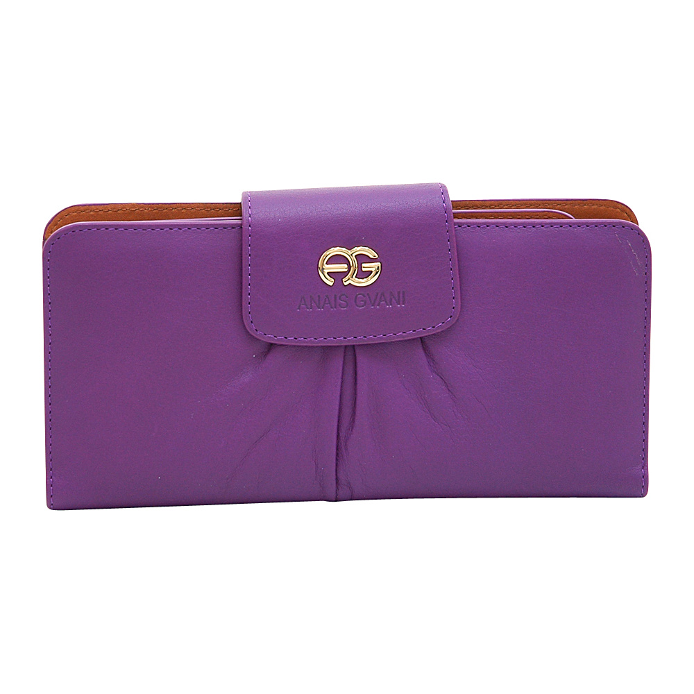 Dasein Womens Pleated Bifold Wallet with Checkbook Cover Purple/Brown - Dasein Womens Wallets - Women's SLG, Women's Wallets