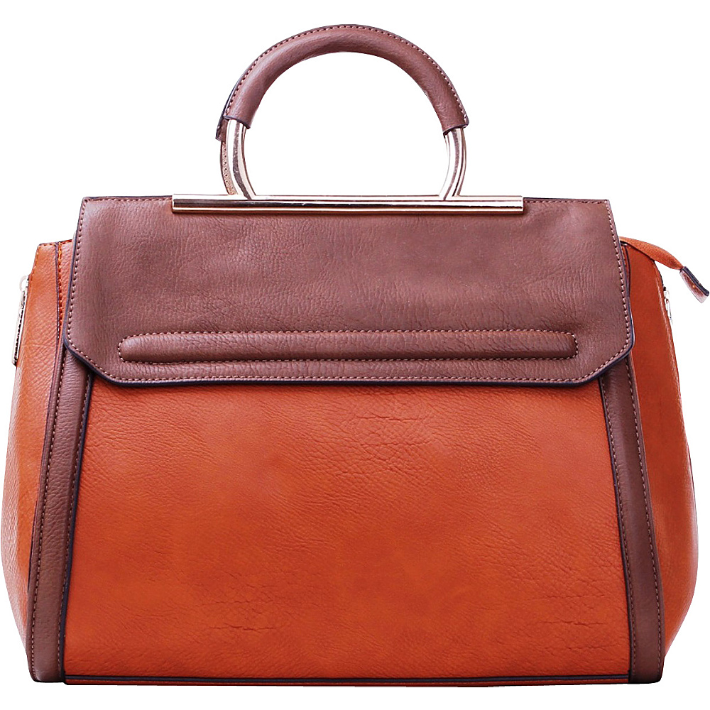 MKF Collection Two-Tone Satchel with Removable Strap Brown - MKF Collection Manmade Handbags - Handbags, Manmade Handbags