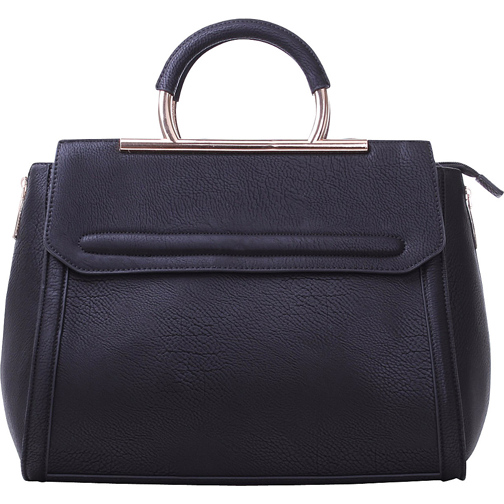 MKF Collection Two-Tone Satchel with Removable Strap Black - MKF Collection Manmade Handbags - Handbags, Manmade Handbags