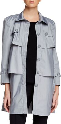 Rolo & Ale Andy 3/4 Sleeve Tiered Utility Trench Coat XS - Gray - Rolo & Ale Women's Apparel