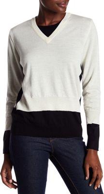 Rolo & Ale Bonnie Wool V-Neck Sweater XS - Ivory & Black - Rolo & Ale Women's Apparel