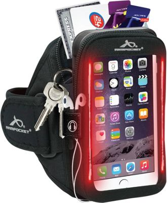 Armpocket Flash i-40 LED Safety Armband for Devices up to 6.5 inch - Medium Strap Length Black - Armpocket Electronic Cases