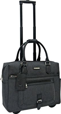 Cabrelli Leah Lizard Rolling Briefcase Black - Cabrelli Wheeled Business Cases