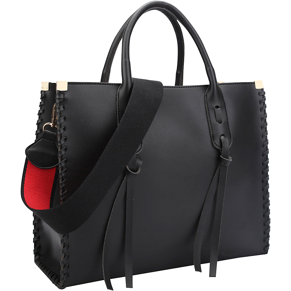 Dasein Medium Satchel with Decorative Side Stitch Black - Dasein Manmade Handbags - Handbags, Manmade Handbags