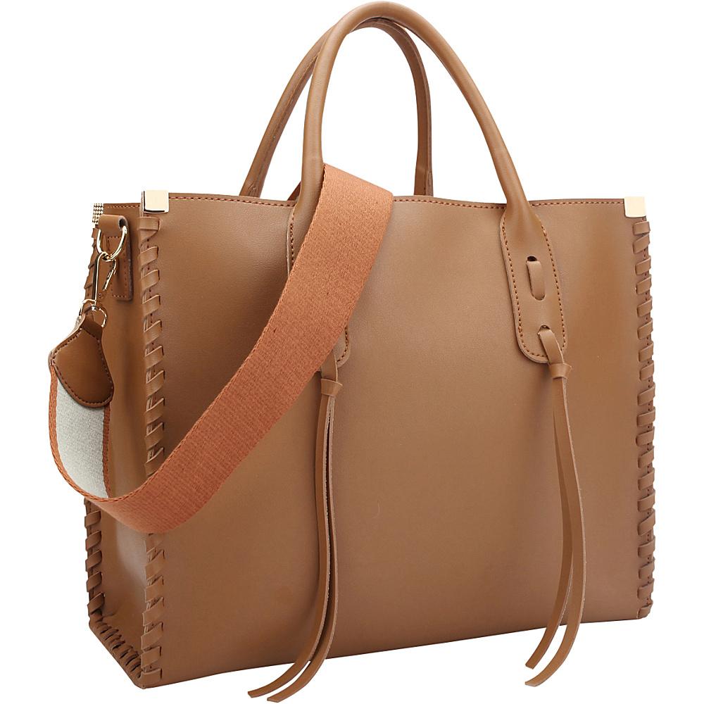 Dasein Medium Satchel with Decorative Side Stitch Brown - Dasein Manmade Handbags - Handbags, Manmade Handbags