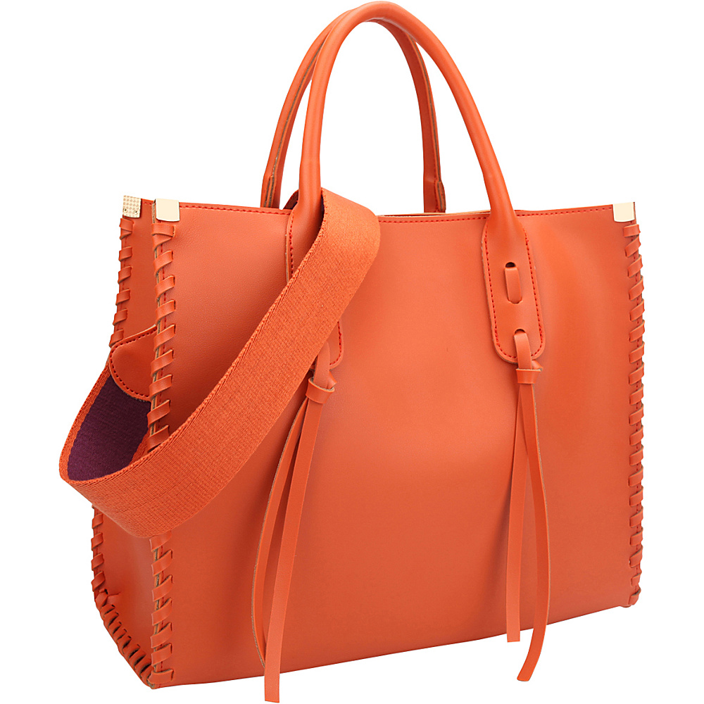 Dasein Medium Satchel with Decorative Side Stitch Orange - Dasein Manmade Handbags - Handbags, Manmade Handbags