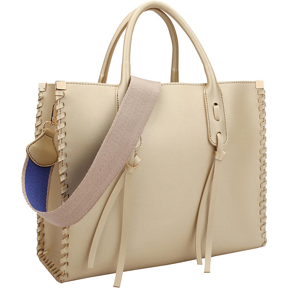 Dasein Medium Satchel with Decorative Side Stitch Gold - Dasein Manmade Handbags - Handbags, Manmade Handbags