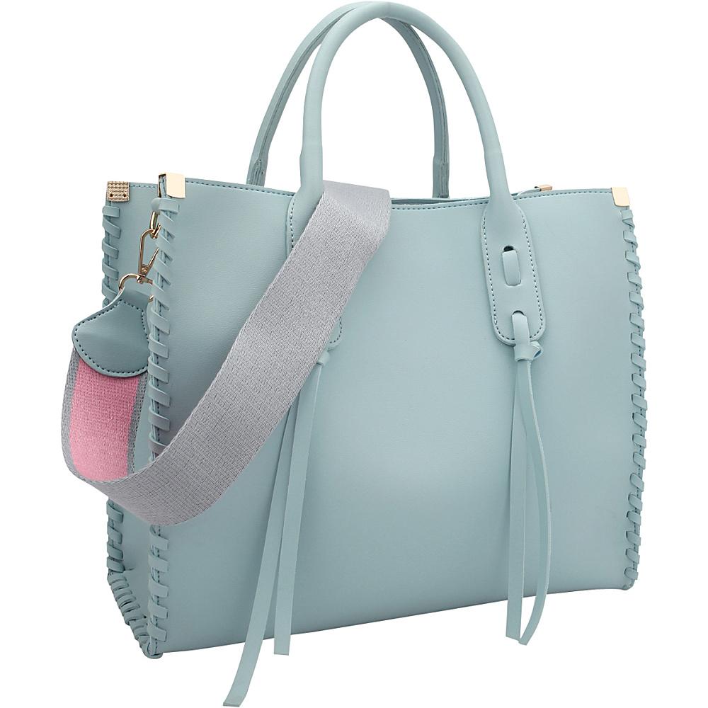 Dasein Medium Satchel with Decorative Side Stitch Light Blue - Dasein Manmade Handbags - Handbags, Manmade Handbags