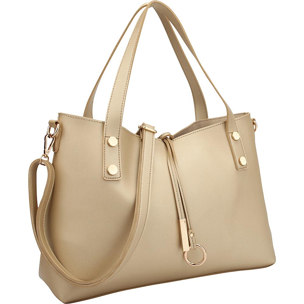 Dasein Soft Tote with Detachable Flowery Bucket Bag Inside Gold Flower - Dasein Manmade Handbags - Handbags, Manmade Handbags
