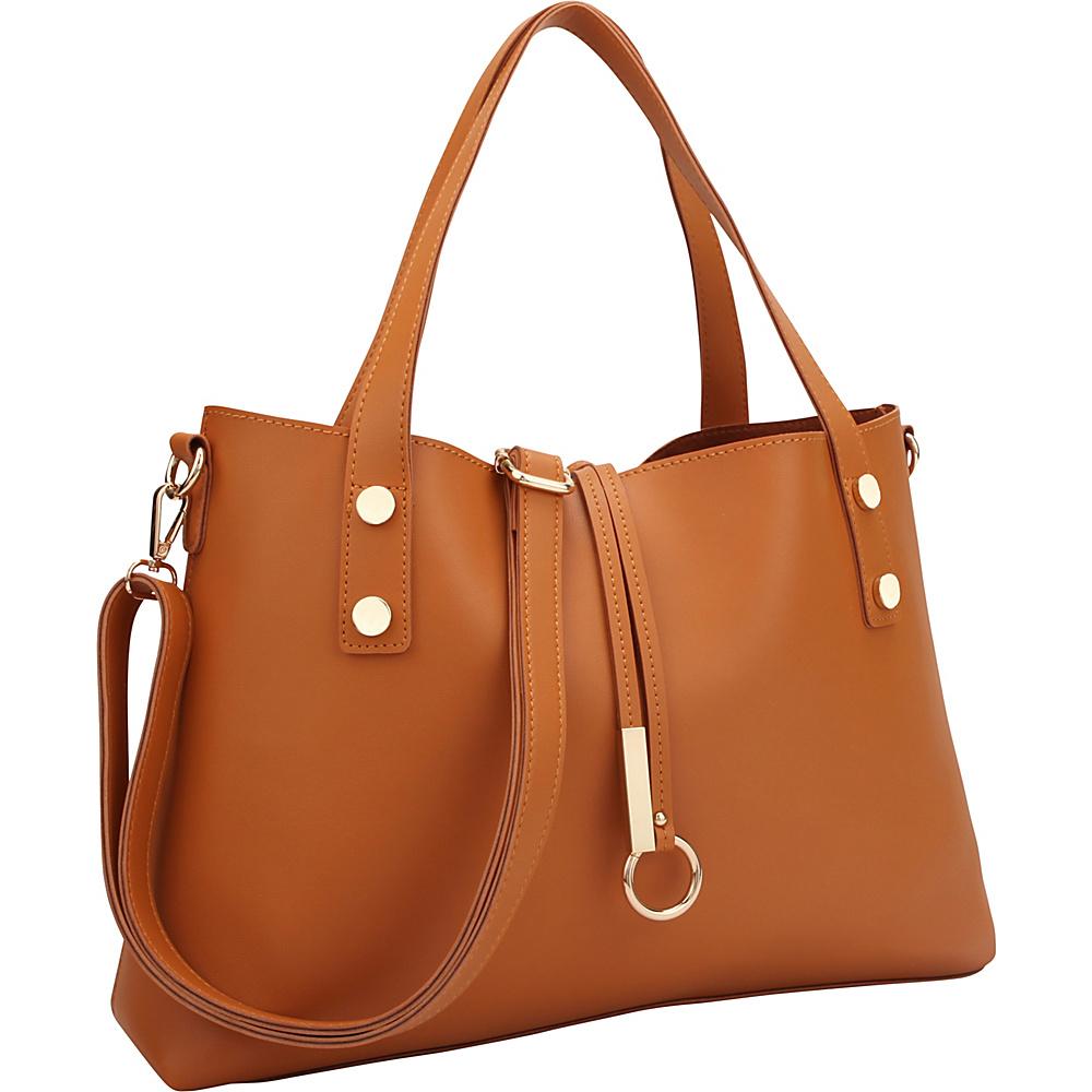 Dasein Soft Tote with Detachable Flowery Bucket Bag Inside Brown Flower - Dasein Manmade Handbags - Handbags, Manmade Handbags