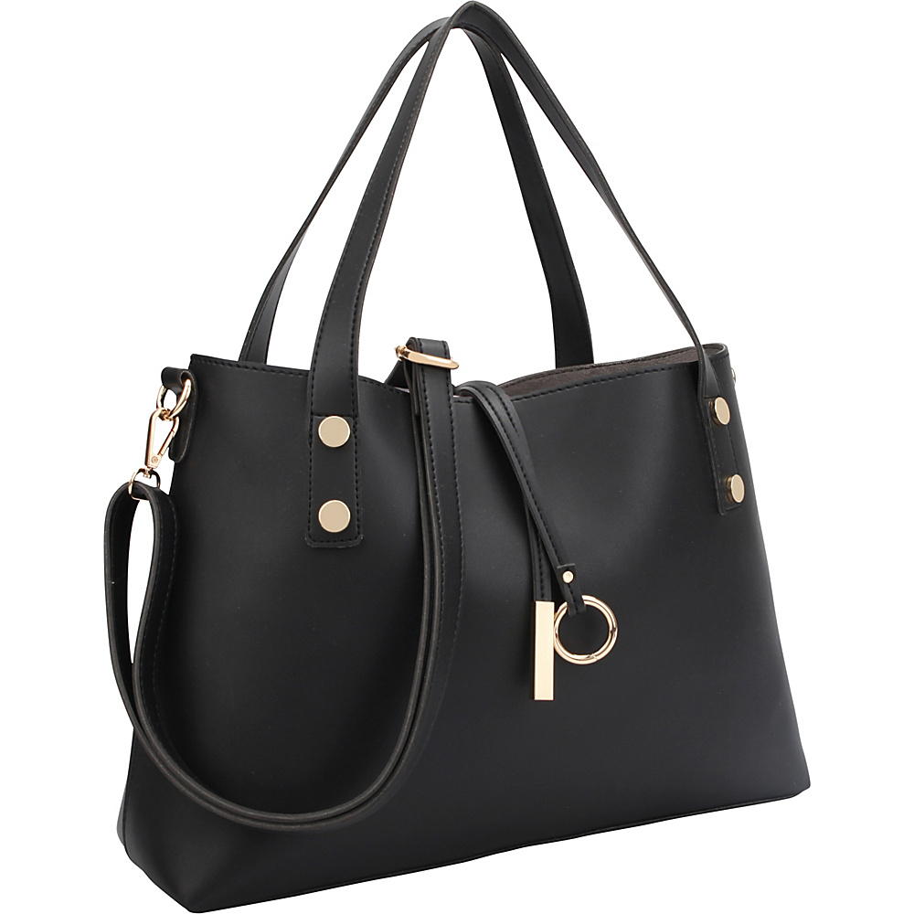 Dasein Soft Tote with Detachable Flowery Bucket Bag Inside Black Flower - Dasein Manmade Handbags - Handbags, Manmade Handbags