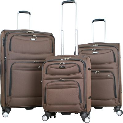 Gabbiano Monaco 3 Piece Expandable Softside Spinner Luggage Set Brown - Gabbiano Luggage Sets