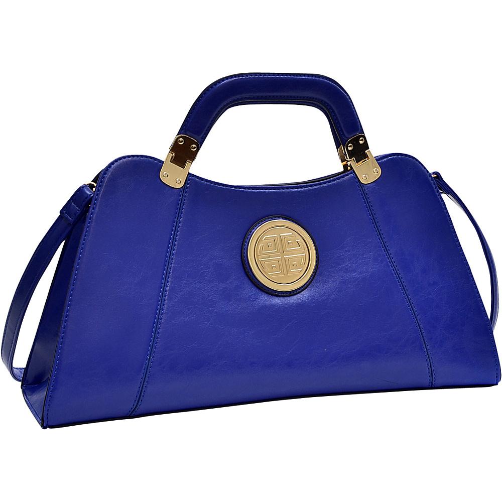 Dasein Emblem Deep Gloss Hinge Handle Bag with Removable Shoulder Strap Royal Blue - Dasein Manmade Handbags - Handbags, Manmade Handbags