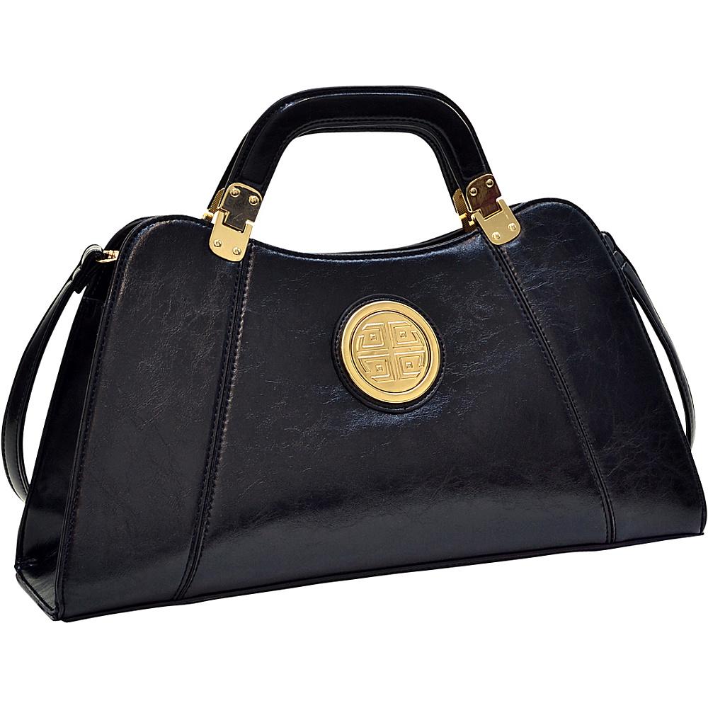Dasein Emblem Deep Gloss Hinge Handle Bag with Removable Shoulder Strap Black - Dasein Manmade Handbags - Handbags, Manmade Handbags