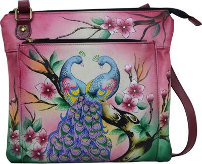 ANNA by Anuschka Hand Painted Multipocket Crossbody Peacock Paradise - ANNA by Anuschka Leather Handbags