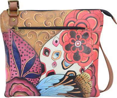 ANNA by Anuschka Hand Painted Multipocket Crossbody Tribal Potpourri - ANNA by Anuschka Leather Handbags