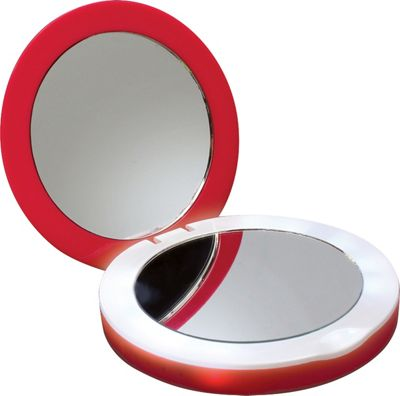 Digital Treasures PowerNow 3000mAH Compact Portable Charger Illuminated Makeup Mirror Red - Digital Treasures Portable Batteries & Chargers