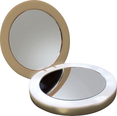 Digital Treasures PowerNow 3000mAH Compact Portable Charger Illuminated Makeup Mirror Gold - Digital Treasures Portable Batteries & Chargers