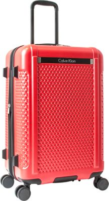 Calvin Klein Luggage Driver 24 inch Expandable Checked Hardside Spinner Luggage Red - Calvin Klein Luggage Hardside Checked