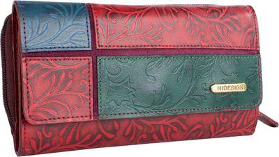 Hidesign Sindhu RFID Blocking Trifold Leather Wallet Red - Hidesign Designer Handbags