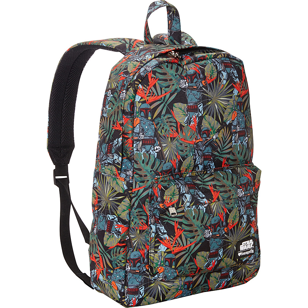 Loungefly Star Wars Boba Fett Bright Leaves Print Laptop Backpack Green(Grn) - Loungefly Laptop Backpacks