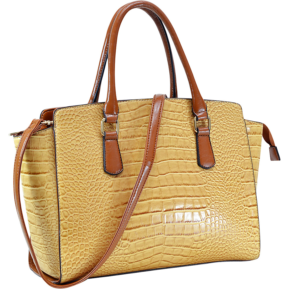 Dasein Winged Croc Satchel with Removable Shoulder Strap Tan - Dasein Gym Bags - Sports, Gym Bags