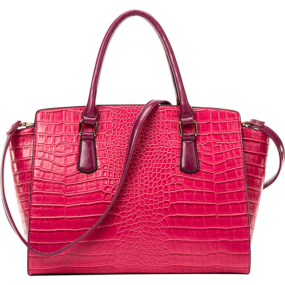 Dasein Winged Croc Satchel with Removable Shoulder Strap Pink - Dasein Gym Bags - Sports, Gym Bags