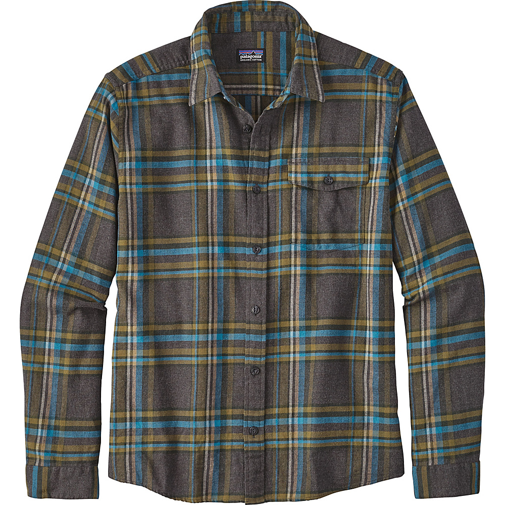496d9a8f555 Patagonia Mens Long Sleeve Lightweight Fjord Flannel Shirt XXS - Watershed   Forge Grey - Patagonia