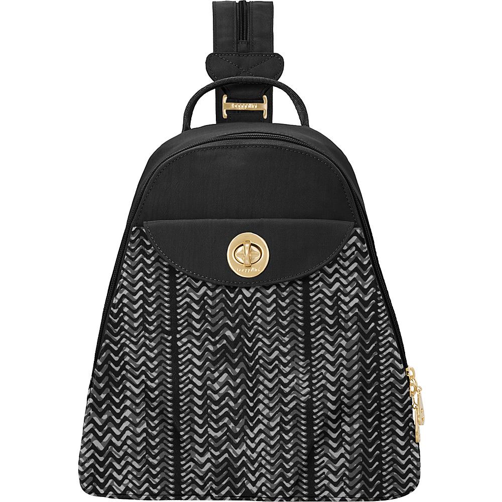 baggallini Dallas Convertible Backpack Black/White Illusion Print - baggallini Fabric Handbags - Handbags, Fabric Handbags