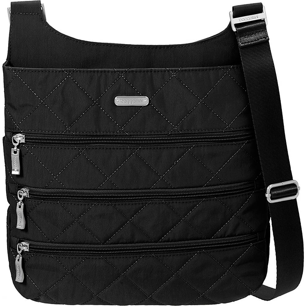 baggallini Quilted Big Zipper Bagg Crossbody with RFID Black Quilt - baggallini Fabric Handbags - Handbags, Fabric Handbags