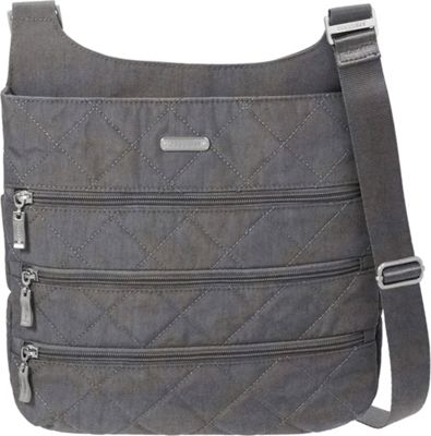 Quilted Big Zipper Bagg Crossbody with RFID Pewter Quilt - baggallini Fabric Handbags